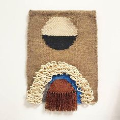 "Tapestry Weaving - ""Luna"" /  hand woven wall hanging Winter Moon, Copper Material, Woven Wall Hanging, Tapestry Weaving, Hand Spinning, Wool Blend, Straw Bag, Taupe, Hand Weaving"