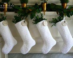 White Christmas Stocking, White Stocking, White Christmas, Quilted Christmas Stocking, Personalized Stocking