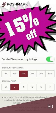 SAVE 15% ON BUNDLES OF 3 OR MORE ITEMS! Your bundle discount will be automatically applied @ checkout on eligible bundle purchases from my listings closet OR boutique items. Any change to the discount WILL NOT apply to completed bundle orders. AS ALWAYS, PLEASE FEEL FREE TO ASK ANY QUESTIONS PRIOR TO OFFERS OR PURCHASES. FYI Other