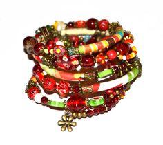 Red orange taupe and bronze adjustable wrap by PurpleTurtleStore