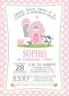 Pink Farm Birthday Invitation for a Girl | Farm Party Invite | Petting Zoo…