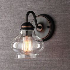 Shades of light- Clear Cloche Glass Sconce Clearly stylish with a shapely onion glass globe and polished nickel or bronze hardware. $59 (antique with gold rub n' buff?)