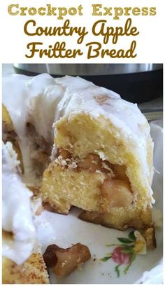 Awesome Country Apple Fritter Bread Recipe - Fluffy, buttery, white cake loaf loaded with chunks of apples and layers of brown sugar and cinnamon swirled inside and on top. Fruit Recipes, Apple Recipes, Gourmet Recipes, Bread Recipes, Cake Recipes, Dessert Recipes, Cooking Recipes, Dessert Food, Apple Fritter Bread
