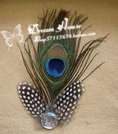 2014 moda estilo nacional pluma de pavo real verde de la flor del tocado accesorios del pelo del envío libre(China (Mainland))