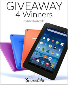 Kindle Fire Giveaway with 4 Winners -- end September 30 #homeschool