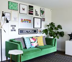 Bold Green sofa, with touches of monochrome and bright pops of colour. Prints adding character and fun to this living area. Ikea's Stockholm sofa with Pretty Pegs feet. Black and Brass accessories.