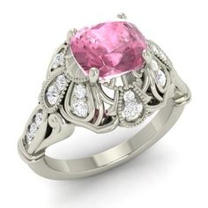Cushion-Cut Pink Tourmaline  and Diamond  Vintage Ring in 14k White Gold