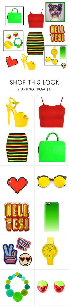 """""""Rasta colors!"""" by adna-00 ❤ liked on Polyvore featuring Pleaser, WearAll, Topshop, Versace, Anya Hindmarch, ZeroUV, Casetify, Crayo, Monies and Mariah Rovery"""