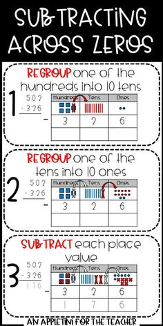 One of the tricky parts of can be subtracting across zeros. Bridge the gap between concrete and abstract with drawing on a place value mat! 6 worksheets with answer keys, success criteria, a mini-anchor chart, and printable visuals for math jour Teaching Subtraction, Teaching Math, Subtraction Regrouping, Subtraction Across Zeros, Fourth Grade Math, Second Grade Math, Grade 3, Math Answers, Math Practice Worksheets