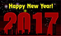 Happy New Year Celebration ecards red yellow 2017