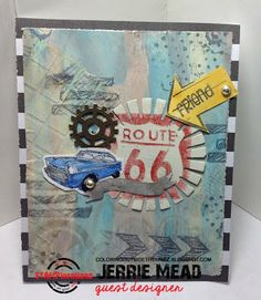 Card by Jerrie using {Bloom Sketches, Gone Postal, Scribbly Splattery Grunge and Retro Circles stencil}