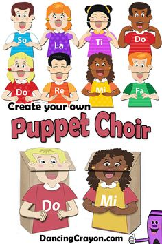 Kodaly Choir of Paper Bag Puppets: Create your own puppet choir!  Use these puppets to introduce new notes, decipher melodies with them, create classroom puppet shows, class videos, or perform with puppets in a concert... oodles of learning opportunities! Perfect for Kodaly programs and children's choirs.