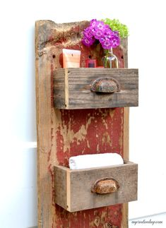 DIY Barn Wood Wall Bin MyCreativeDays We are always trying to get more organized in all areas of our lives. This easy DIY wall organizer has a rustic look but will keep anything you store in it streamlined and neat.