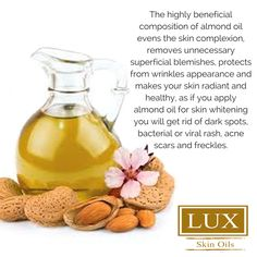 If you're looking for a diverse skin care ingredient, you've found it! Read about the top 15 Sweet Almond Oil Uses, and get your creative juices flowing! Almond Oil Uses, Sweet Almond Oil, Coconut Oil, Egg For Hair, L Eucalyptus, Blemish Remover, Dark Circles Under Eyes, Lighten Skin, Hair Growth Oil