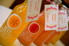 """IZZE Sparkling Soda Escort """"Cards"""", they comes in a variety of colors so coordinating them with your color scheme would be super fun!"""