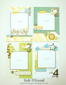 I want to share this sweet little baby boy album I made. I used the 6x8 Sea Glass Album (and 6x8 page protectors), papers from the W...