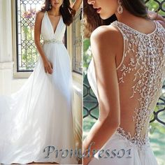 V-neck prom dresses 2016, white chiffon ball gown, mother of bride dress from https://www.promdress01.com/#!product/prd1/4287061535/elegant-white-v-neck-chiffon-long-wedding-dresses