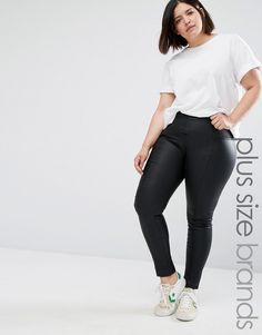 ASOS CURVE Leather Look Leggings With Elastic Slim Waist (240 DKK ...