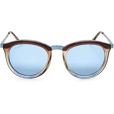 Le Specs No Smirking Mirrored Polarized Round Sunglasses, 50mm (295 BRL) ❤ liked on Polyvore featuring accessories, eyewear, sunglasses, le specs, round sunglasses, le specs sunglasses, round frame glasses and round frame sunglasses