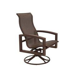 Tropitone Lakeside Sling High Back Swivel Rocking Chair Finish: Woodland, Fabric: Sparkling Water