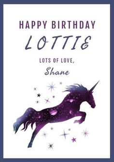 A modern, galaxi unicorn illustration on a white background with purple text and frame for a birthday card. Unicorn Cards, Unicorn Illustration, Happy Birthday Cards, Moose Art, Purple, Frame, Modern, Animals, Happy Birthday Greeting Cards