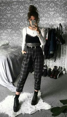 Long sleeve white top with black bralette, plaid pants & boots by sophie. - Long sleeve white top with black bralette, plaid pants & boots by sophie.seddon & Clothes 29 Cool Ways to Wear Plaid Pants Retro Outfits, Boho Outfits, Outfits For Teens, Trendy Outfits, Fall Outfits, Vintage Outfits, Fashion Outfits, Dress Fashion, Grunge Winter Outfits