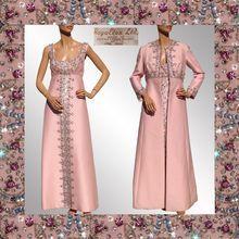 Vintage Bejeweled Dress & Coat 1960s Pink Silk Royalton British Crown Colony of Hong Kong Ladies Size Medium 8