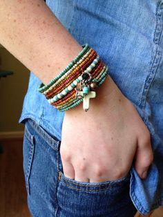 Global Spice Boho Beaded Cuff Gemstone Charm Bracelet