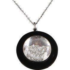 Estate Moritz Glik Floating Diamond Pendant Necklace 14 Karat White Gold Designer @rubylanecom #diamonds #rubylane