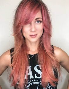 34 Short Bangs That Are Totally Hot in 2019 - Style My Hairs - Wispy side-swept bangs in a stunning color will make you the talk of the town! Side Bangs With Long Hair, Layered Hair With Bangs, Curls For Long Hair, Long Layered Hair, Long Hair Cuts, Short Bangs, Side Bangs Hairstyles, Face Shape Hairstyles, Haircuts For Long Hair