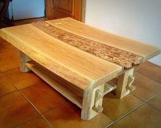 Unique solid wood handmade oak coffee table
