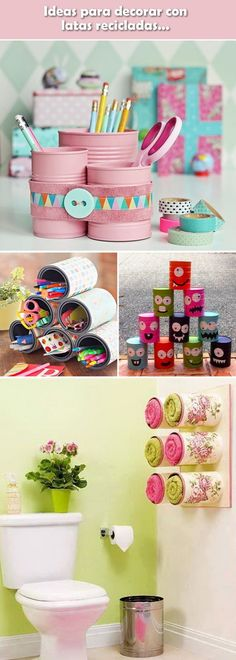 Ideas with recycled cans. Crafts with recycled cans. Decoration with L . - Diy decoration, Ideas with recycled cans. Crafts with recycled cans. Decoration with L . Tin Can Crafts, Jar Crafts, Home Crafts, Diy And Crafts, Crafts For Kids, Arts And Crafts, Pot A Crayon, Recycle Cans, Recycled Crafts