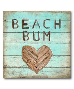 Loving this 'Beach Bum' Heart Wrapped Canvas on #zulily! #zulilyfinds