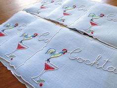 "ROOSTERS CROWING ""COCKTAILS"" Madeira Embroidery Linen 6 Cocktail Napkins FINE"