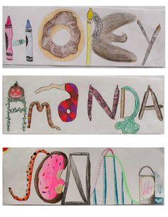 In Art We Trust: Grade name illustrations - Art Education ideas Name Art Projects, Classroom Art Projects, Art Classroom, Art Education Lessons, Art Lessons Elementary, High School Art, Middle School Art, Classe D'art, 8th Grade Art