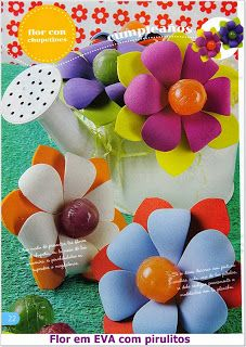 Flor em EVA com pirulitos