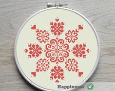 modern cross stitch pattern geometric snowflake by Happinesst