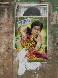 Shahruk Khan in Torn Bollywood Movie Poster on Wall, Hospet, Karnataka, India, Asia Photographic Print by Annie Owen at AllPosters.com