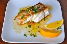 Pan Seared Black Grouper with Meyer Lemon Mojo Sauce « Table Talk Entree Recipes, Meat Recipes, Seafood Recipes, Gourmet Recipes, Cooking Recipes, Healthy Recipes, Skinny Recipes, Healthy Foods, Eating Clean
