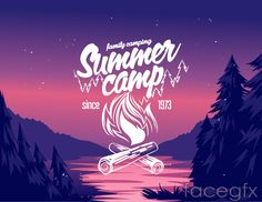 Creative summer camp flyer vector