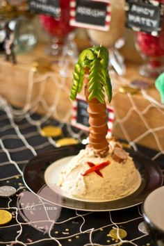 hot dogs and green pepper palm tree--how cool!   Pirate Themed 5th Birthday Party - Kara's Party Ideas - The Place for All Things Party