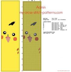 Cross stitch bookmark with Pokemon Pikachu free pattern download