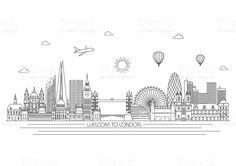 Vector line illustration. Line style design Architecture Graphics, Architecture Art, London Sketch, Composition Drawing, London Free, London Skyline, Line Illustration, Free Vector Art, Line Art