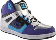 DC Shoes - Rebound Hi (Women's) - Black/White/Velvet Purple Hip Hop Shoes, White Velvet, Shoe Closet, Rebounding, On Shoes, Skechers, Clarks, Uggs, Black And White