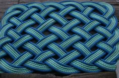 3' x 4' Rope Rug Blue & Green Doormat or Dog by AlaskaRugCompany, $235.00