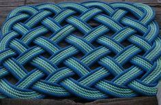 3' x 4' Rope Rug Blue & Green Doormat or Dog by AlaskaRugCompany, $235.00