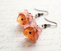 Peach Flower Earrings Tangerine Glass Dangle Flower Drop Spring Garden Lucite Jewellery Vintage Style Floral Accessories Pink Summer Jewelry