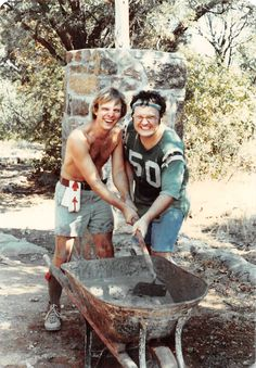 Dean Ramsey and Kenneth Majka working hard at the 1980 summer ordeal at Worth Ranch BSA