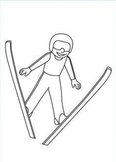 Ski Jumping Colouring Page Olympic Idea, Olympic Sports, Olympic Games, Olympic Crafts, Kids Olympics, Freestyle Skiing, Pyeongchang 2018 Winter Olympics, Ski Jumping, Sports Art