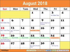 the 24 best august 2018 calendar template images on pinterest